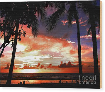 Hawaiian Sunset Wood Print