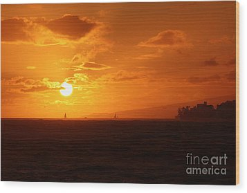 Hawaiian Sunset Wood Print by Mary Mikawoz