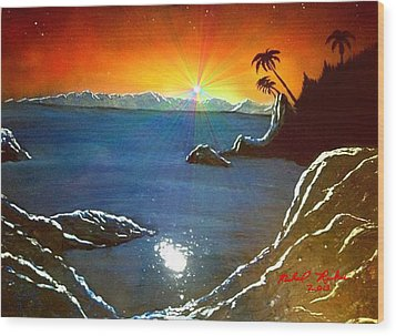 Wood Print featuring the painting Hawaiian Sunset by Michael Rucker