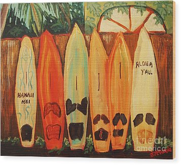 Hawaiian Surfboards Wood Print