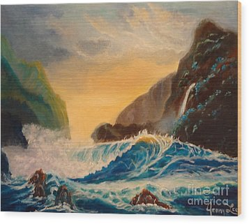 Wood Print featuring the painting Hawaiian Turquoise Sunset   Copyright by Jenny Lee