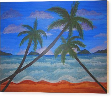 Hawaiin Beach Wood Print by Haleema Nuredeen