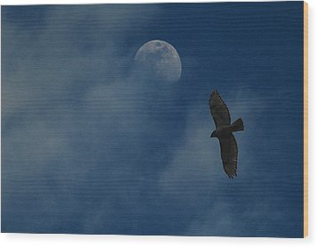 Hawk And Moon Coming Out Of The Mist Wood Print by Raymond Salani III