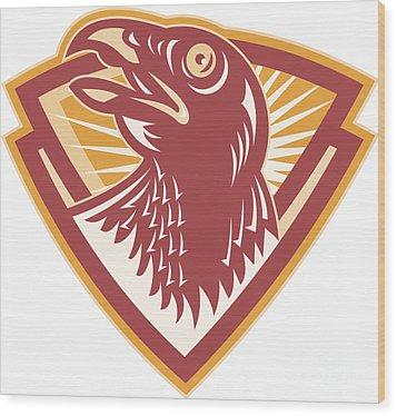 Hawk Head Shield Retro Wood Print by Aloysius Patrimonio