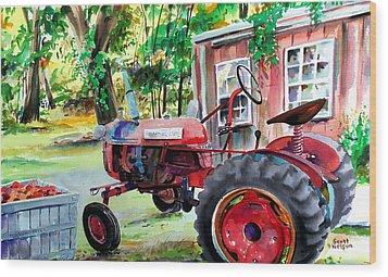 Hawk Hill Apple Tractor Wood Print by Scott Nelson