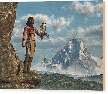 Hawk Warrior Wood Print by Daniel Eskridge