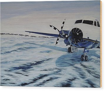 Wood Print featuring the painting Hawker - Airplane On Ice by Marilyn  McNish