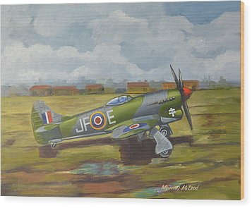 Wood Print featuring the painting Hawker Tempest by Murray McLeod