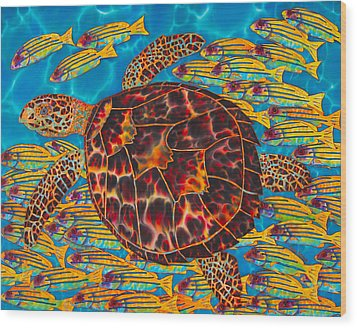 Hawksbill Sea  Turtle And  Snappers Wood Print