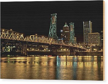 Hawthorne Bridge Over Willamette River Wood Print