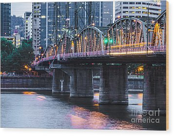 Hawthorne Bridge Portland Oregon Wood Print