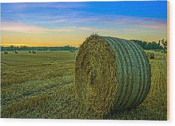 Hay Bales Before Dusk Wood Print by Alex Weinstein