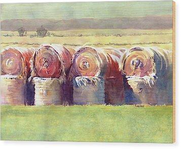 Hay Bales Wood Print by Kris Parins