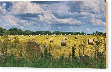Hay Bales Wood Print