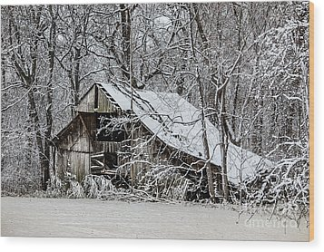 Wood Print featuring the photograph Hay Barn In Snow by Debbie Green