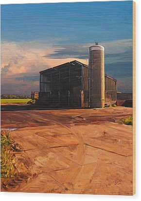 Wood Print featuring the painting Hay Barn In Vijfhuizen by Nop Briex