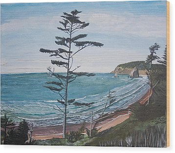 Hay Stack Rock From The South On The Oregon Coast Wood Print by Ian Donley
