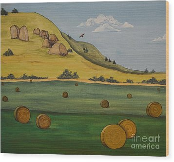 Haybales Wood Print by Cassandra Barnhart