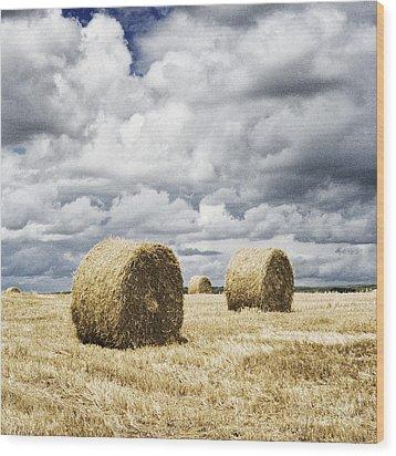 Haybales In A Field In England Uk Wood Print by Jon Boyes