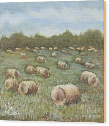 Haybales In The Field Wood Print by Vic  Mastis