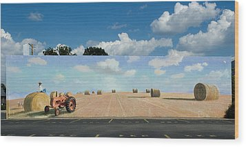 Haybales - The Other Side Of The Tunnel Wood Print