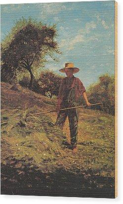 Haymaking Wood Print by Winslow Homer