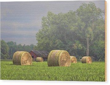 Hay's A Waitin' Wood Print by Lewis Mann