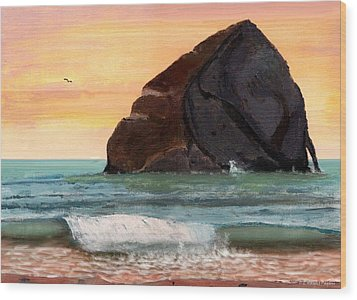 Haystack Rock At Kiwanda Wood Print by Chriss Pagani