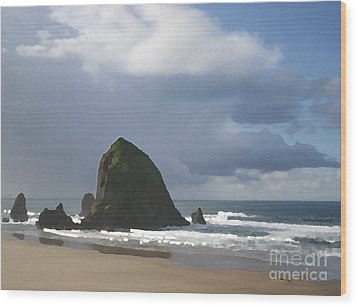 Wood Print featuring the photograph Haystack Rock by Jeanette French