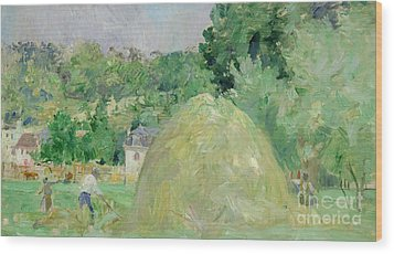 Haystacks At Bougival Wood Print by Berthe Morisot