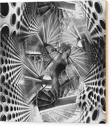 Hazard Stairs Wood Print by Florin Birjoveanu