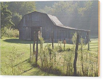 Hazy Barn  Wood Print