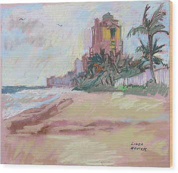 Wood Print featuring the painting Hazy Beach by Linda Novick