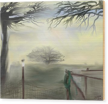 Wood Print featuring the digital art Hazy Day In Texas by Jessica Wright