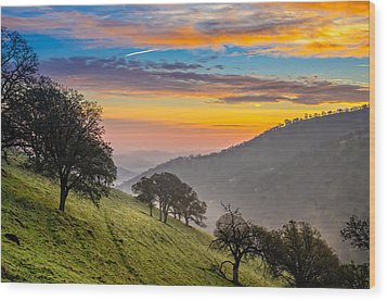 Hazy East Bay Sunrise Wood Print