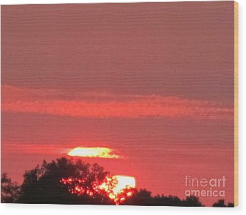 Wood Print featuring the photograph Hazy Sunset by Tina M Wenger