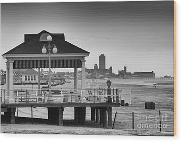 Hdr Beach Boardwalk Photos Pictures Art Sea Ocean Photograph Scenic Landscape Black White Wood Print by Pictures HDR