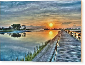 Hdr Boardwalk Sunrise Wood Print