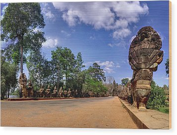 Wood Print featuring the photograph Hdr - Hi-res - Ancient Asia Civilization Monuments In Angkor Wat Cambodia by Afrison Ma