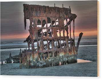 Hdr Peter Iredale Wood Print by James Hammond