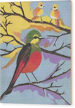 Wood Print featuring the painting He Aint That Tweet by Kathleen Sartoris