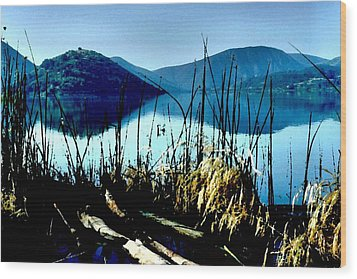 He Leads Me Beside Still Waters Wood Print by Sharon Soberon