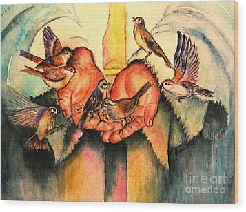 Wood Print featuring the painting He Will Provide by Hazel Holland