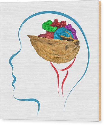 Head And Brain Abstract Wood Print by Ioan Panaite