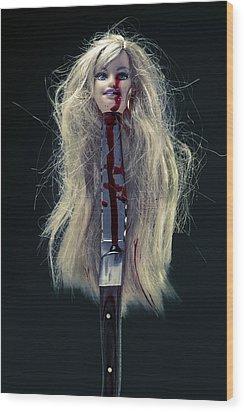 Head And Knife Wood Print by Joana Kruse