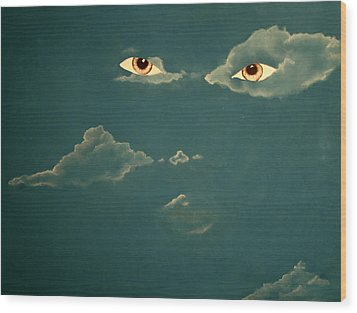 Head In The Clouds Wood Print by Corina Bishop