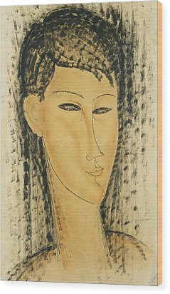 Head Of A Young Women Wood Print by Amedeo Modigliani