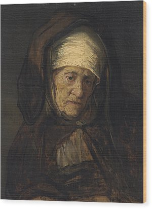 Head Of An Aged Woman Wood Print by Rembrandt