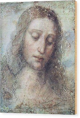 Wood Print featuring the drawing Head Of Christ Restoration Art Work by Karon Melillo DeVega