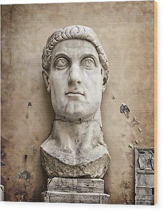Head Of Constantine Wood Print by Joan Carroll